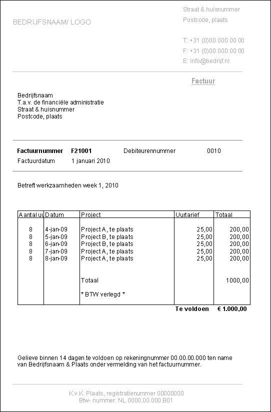 voorbeeld factuur belastingdienst Voorbeeld Factuur Belastingdienst | gantinova